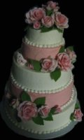 Mini Tier w/Pink Roses Topper