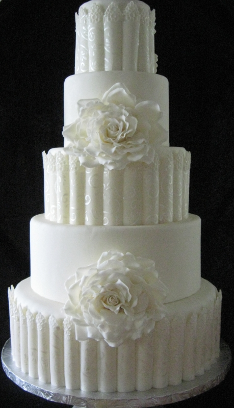 White Rose wedding cake w/o top rose